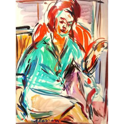 Ferrari Antoine (1910-1995), Gouache, Portrait De Femme, Signé Et Encadré