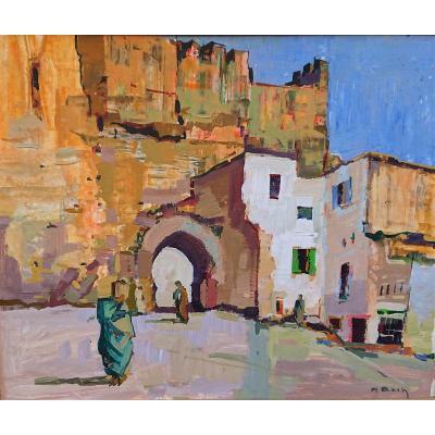 Pierre Bach (1906-1971), Orientalist, La Carrier d'Eau, Signed Lower Right, Golden Frame
