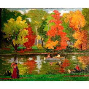 C. Bron (1895- ?),  Bois De Boulogne, Huile Sur Toile Signée, Encadrée, Vers 1930/40