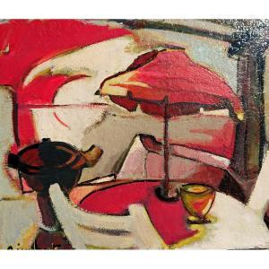 A. Imbert (xxème), Les Parasols Rouges, Huile Sur Toile Signé