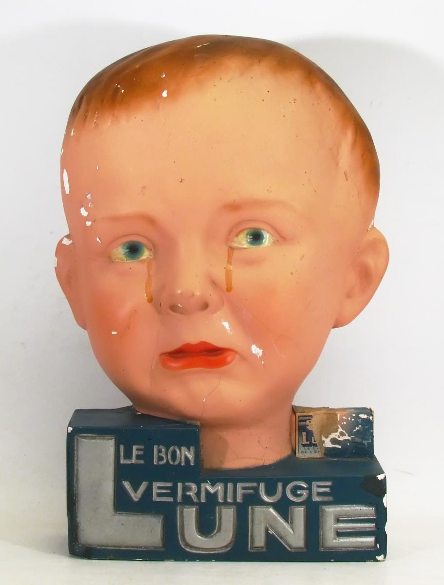 Plâtre Publicitaire Le Bon Vermifuge Lune, Vers 1930
