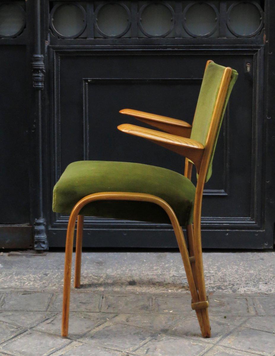 """Fauteuil en bois courbé """"Bow Wood"""" Steiner 1950"""