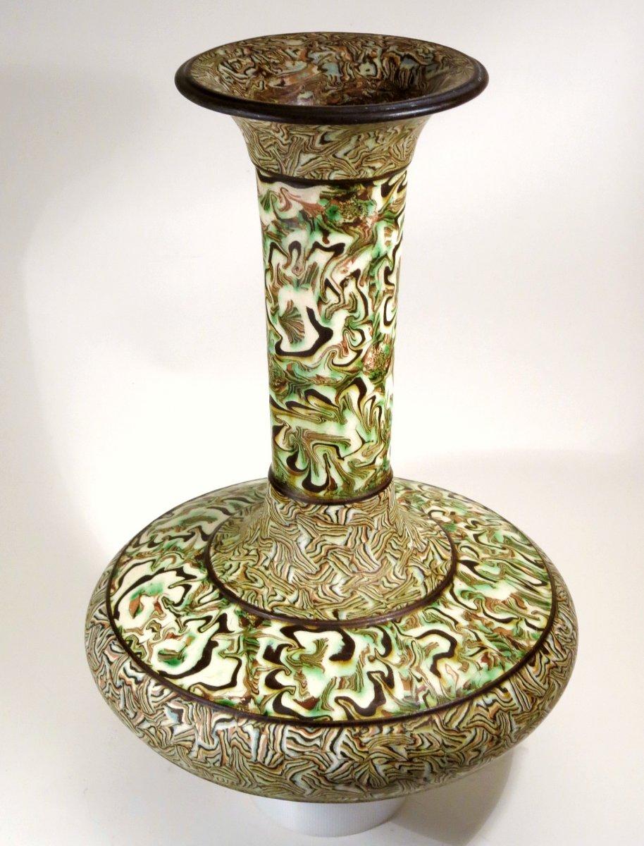 Grand vase en terres mêlées, par Pichon à Uzès. 1900