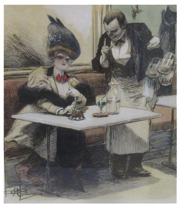 Carafe, bouteille à glace de bistrot, 1895, époque absinthe.-photo-1