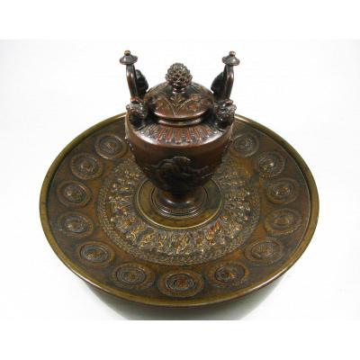 Encrier En Bronze De Barbedienne 1865, Dans Le Goût De La Rome Antique.