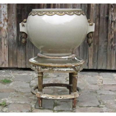 Cache-pot Monumental En Faïence De Lunéville Et Bronze. 1900