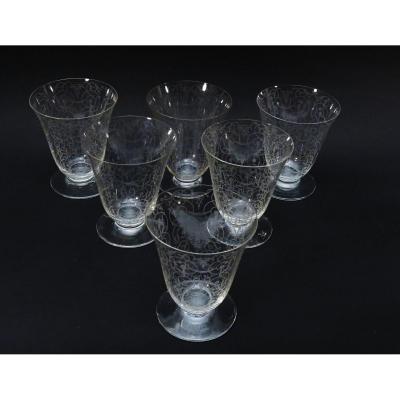 Six verres à eau (h:10,2 Cm) En cristal de Baccarat, Michelangelo.