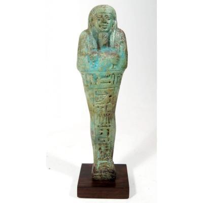 Oushebti In Glazed Terracotta, Epigraph Of Hieroglyphs. Lower Period Egypt.
