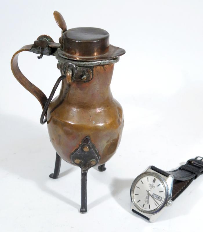 Coquemar miniature  en cuivre , XVIIIème siècle. Hauteur  16 cm.-photo-2