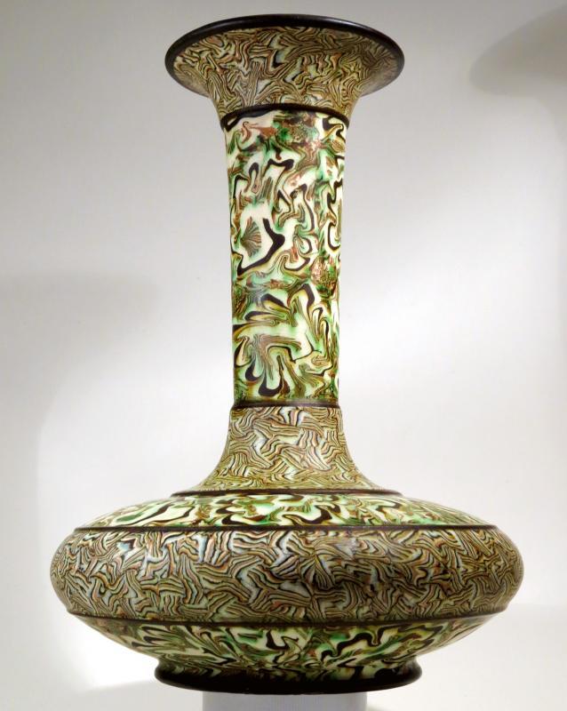 Grand vase en terres mêlées, par Pichon à Uzès. 1900-photo-2