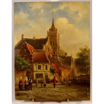 Paysage de Hollande, huile / panneau par Johannes Franciscus Spohler. 26 x 20 cm