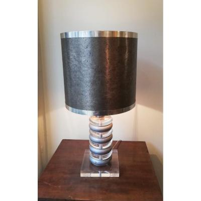 Vintage 1970 Lamp In Plexiglass And Silver Lacquered Metal