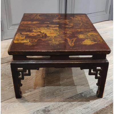 Table Basse En Laque Noir Et Dorée Au Décor De Paysages