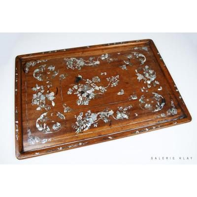 Important Wood Opium Tray With Mother Of Pearl  Inlays