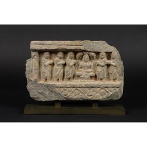 Relief Avec Une Scène De La Vie De Bouddha, Schiste, Gandhara, Ier-ve Siècle Après Jc