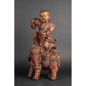 Garçon Sur Un éléphant, Chine, Dynastie Qing, XVIIIe Siècle