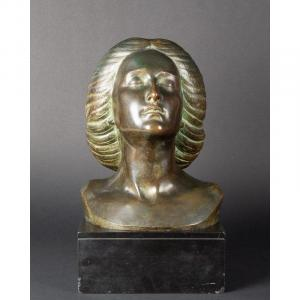 Buste De Femme, Bronze, Léon Morice (1868-?), Alexis Rudier Fondeur