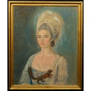 Dame Avec Un écureuil, Pastel, Classicisme, Vers 1780.