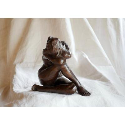 ''Petite Arielle'' Sculpture en bronze signée Marie-Jo Bourron (1931-2012)