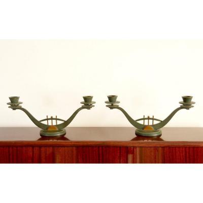 Paire de bougeoirs en bronze - Art déco