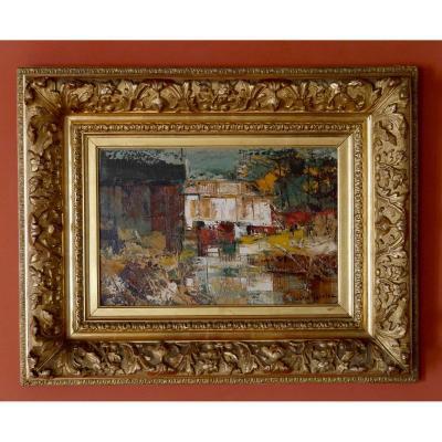 Tableau - Huile sur toile - Paysage moderne -  Gaston Larrieu