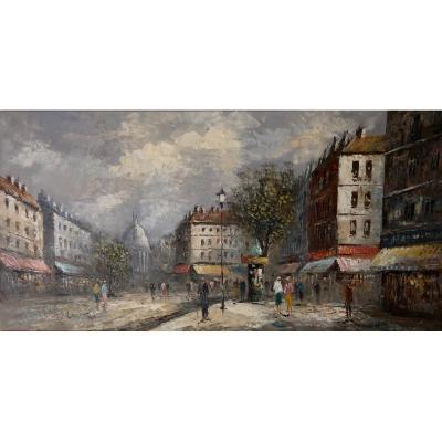 Tableau - Huile sur toile -  Vue de Paris - W.Lawton