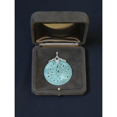 Bijou - Médaillon pendentif en jade - Monture or 18K