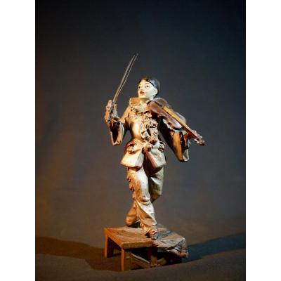 Sculpture - Sujet en régule - Pierrot musicien