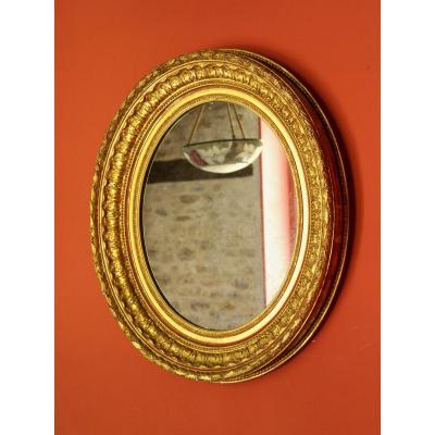 Gold Leaf Oval Mirror - Mercury Glass