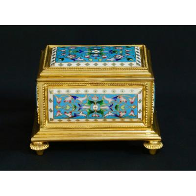 Box, Jewelry Box In Bronze And Cloisonne Enamel