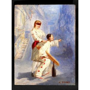 Tableau - Huile sur panneau signée Auguste Bouchet - Pierrot et Colombine