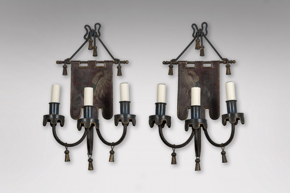 Pair Of Sconces With Coat Of Arms And Trimmings Decor Around 1950