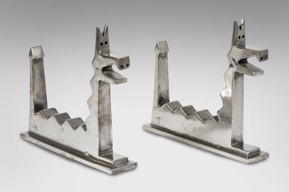 Pair Of Cubist Andirons In Cast Iron Circa 1930