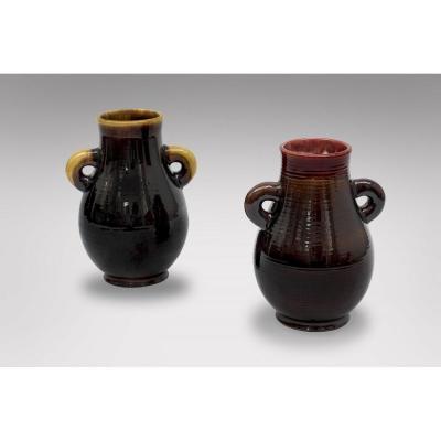 Accolay - Paire De Vases En Céramique