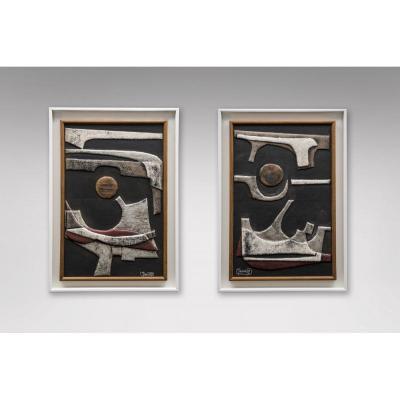 Deux Tableaux Abstraits 1970