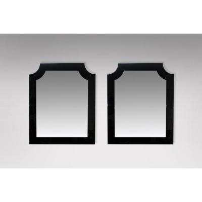 Pair Of Mirrors In Black Lacquer Around 1980