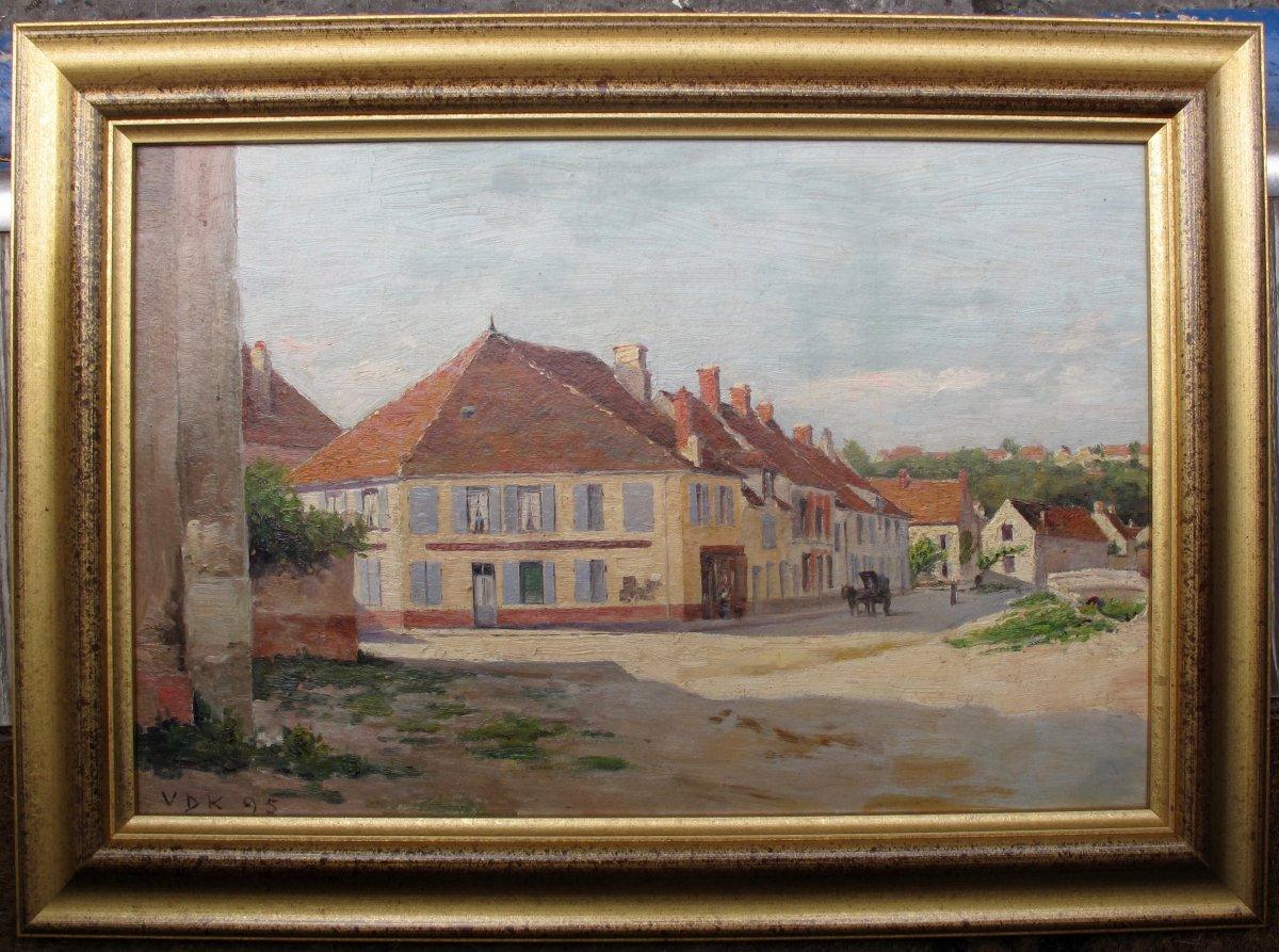 Maurits Van Den Kerkhoff 1830-1908 Pays-bas Daté 1895 Village