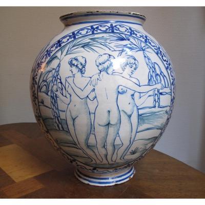Italie Vase Aux 3 Graces Signature à l'Ancre XIXème