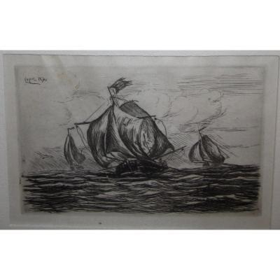 Ludovic Napoléon Lepic 1839-1889 Marine Vieux Gréements