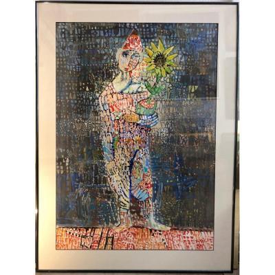 (sacha) Alexandre Semenoff Semenov Harlequin In Russian Sunflower