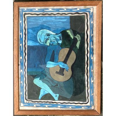 South American School After Picasso's Blind Old Guitarist