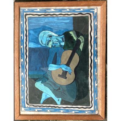 École Sud-Américaine d'après le vieux guitariste aveugle de Picasso