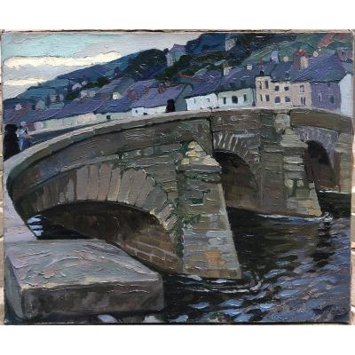 Robert BÉAT 1903-1990 Pays Basque pont et village à identifier