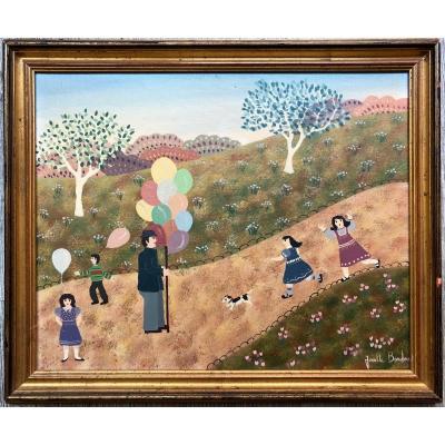 Josette Bardoux (1948) Naive Art The Balloon Seller