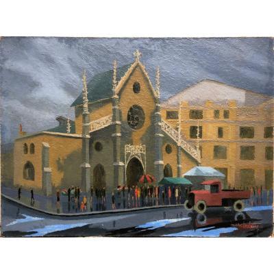 Marc Batime (1907-2000) Van On The Place Des Cordeliers Lyon 1945