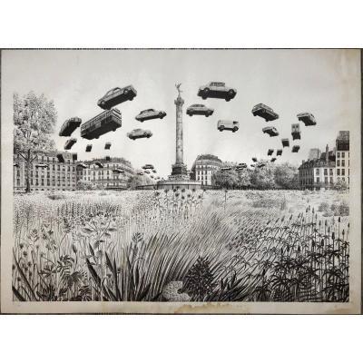 Dominique APPIA (1926) Surréalisme 1975 Place de la Bastille Voitures volantes