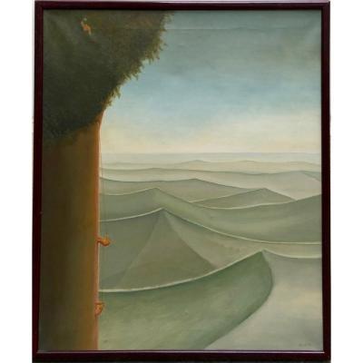 Magnus Blomdahl 1932-2000 Surrealism Climbing A Tree 1982 Sweden