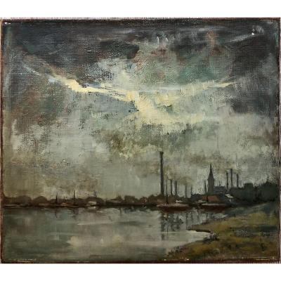 Landscape With Smoking Chimneys Signed To Identify Factories River