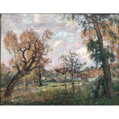 Richard RANFT 1862-1931 famille dans un jardin École Suisse