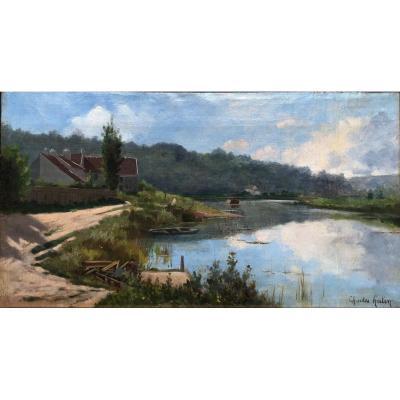Charles HUTIN 1847-1898 Bord de rivière à identifier
